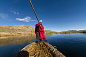 Aymara man rowing a totora reed boat on Lake Titicaca, La Paz Department, Bolivia