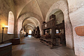 Ancient wine presses in the Refectory of Eberbach Abbey, Germany