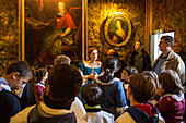 Entertainment for children with the little ambassadors, tour of the chateau de maintenon in period costumes, eure-et-loir (28), france