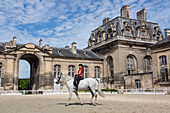 Horse and its rider in show dress in the chenils courtyard, performance showing the art of dressage, the new horse museum opened in 2013 in the big stables on the estate of the chateau de chantilly, oise (60), france