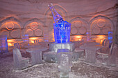 Lobby of the hotel de glace (montreal's snow village) on saint helen's island, in winter, montreal, quebec, canada