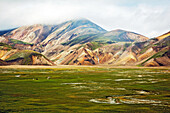 Mountains of rhyolite in landmannalaugar, volcanic and geothermal zone of which the name literally means 'hot baths of the people of the land', region of the high plateaus, southern iceland, europe