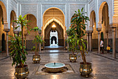 Patio of the old mahakma of the pacha, former muslim court today housing one of the city's prefectures, the habous quarter, the new medina of casablanca, morocco, africa