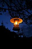 Hanging Lantern in Garden at Night