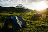 Camping below Vilyuchinsk volcano, Kamchatka, Russia, Eurasia