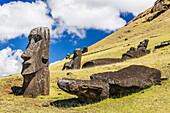 Rano Raraku, the quarry site for all moai statues on Easter Island (Isla de Pascua) (Rapa Nui), UNESCO World Heritage Site, Chile, South America