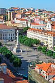 Aerial view of Rossio Square, Baixa, Lisbon, Portugal, Europe