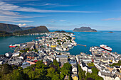 Elevated view over Alesund, Sunnmore, More og Romsdal, Norway, Scandinavia, Europe