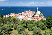 High angle view of the old town with Tartini Square, townhall and the cathedral of St. George, Piran, Istria, Slovenia, Europe