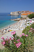 View of Old Town, UNESCO World Heritage Site, and Ploce Beach, Dubrovnik, Dalmatia, Croatia, Europe