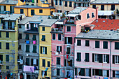 Colourful buildings at dusk, Vernazza, Cinque Terre, UNESCO World Heritage Site, Liguria, Italy, Europe