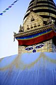 Dusk at the Buddhist stupa of Swayambu (Monkey Temple) (Swayambhunath), UNESCO World Heritage Site, Kathmandu, Nepal, Asia