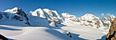 Panoramic shot on Bernina's massif: Palù peak, Bellavista peak, Bernina peak