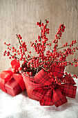 Bouquet of red berries decorated for Christmas, Santa Fe, New Mexico, USA
