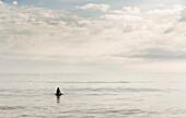 Hispanic surfer floating in water, Virginia Beach, VA, USA