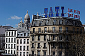 FRANCE, Paris, buildings with the Basilica of the Sacred Heart of Paris in background