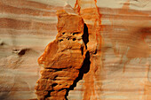 ERODED SANDSTONE CLIFF, VALLEY OF FIRE STATE PARK, NEVADA, USA