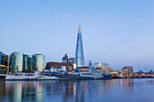 England, London, London Bridge, HMS Belfast and The Shard