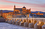 Spain, Andalucia Region, Cordoba Province, Cordoba City, (W.H.) The Roman Bridge and Cordoba Mosque, Guadalquivir River