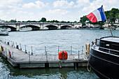 France, Paris 7th district, Quai d'Orsay, landing stage on the river Seine