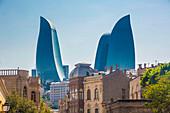 Azerbaijan, Baku City, Old Baku City (W.H.) and Flame Towers