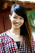 Portrait of a smiling vietnamese girl in Vietnam, South East Asia, Asia