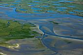 France, Pas-de-Calais (62), Authie Bay estuary to the coastal boundary between the Somme and the Pas-de-Calais (aerial view)