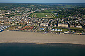 France, Calvados (14), Deauville seaside tourist resorts of the Cote Fleurie Miss waterfront and the hippodrome (aerial view)