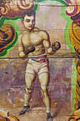 England, Devon, Dingles Fairground Heritage Centre, Fairground Boxing Ring Panel Artwork