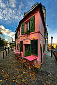 France. Pink Montmartre Paris home. vertical view