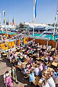 Germany, Baveria, Munich, Oktoberfest, Hofbrauhaus Beer Garden, People Drinking