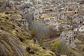 Turkey, Cappadocia, ortahisar village with cave dwellings, natural landscape Heritage of the UNESCO