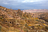 Turkey, Cappadocia, Uchisar village with cave dwellings, natural landscape Heritage of the UNESCO