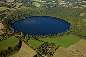 France, Puy-de-Dome (63), gur of Tazenat is a lake of volcanic origin (aerial view)