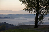 France, Midi Pyrenees, Ariege, From the Ariège Piedmont, mist, hills