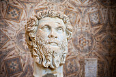 'Head of Emperor Septimius Severus outside the site museum; Djemila, Algeria'