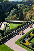 'High angle view of landscaped gardens and paths in a valley; Luxembourg City, Luxembourg'