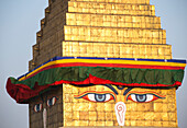 'The Buddhist stupa of Boudhanath dominates the skyline and is one of the largest in the world; Boudhanath, Nepal'