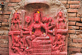 'Stone carving on the cremation ghats; Pashupathinath, Nepal'