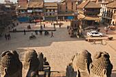 'View of Taumadhi Square from the top of Nyatapola Temple; Bhaktapur, Nepal'