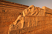 'Animal figures carved into an ornate wall; Hampi, Karnataka, India'