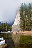 River At Foot Of Mountain, El Capitan, Yosemite National Park, California, United States Of America