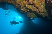'Molokini, Maui, Hawaii, Usa; Scuba Diver At A Volcanic Crater'