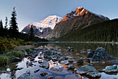 Mount Edith Cavell And Cavell Lake, Jasper National Park, Alberta, Canada