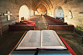 'Durham, England; An Open Bible At The Back Of A Church'