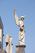 'Buenos Aires, Argentina; Angel Statues And A Cross Made Of Stone On Top Of Tombs In The Recoleta Cemetery'
