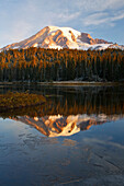 'Washington, United States Of America; Reflection Of Mount Rainier In A Lake With Ice On The Surface In Mt. Rainier National Park'