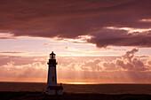 'Oregon, United States Of America; Sunset Over Yaquina Head Lighthouse On The Oregon Coast'