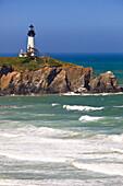 'Oregon, United States Of America; Yaquina Head Lighthouse On The Oregon Coast'
