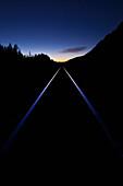 'Train Tracks At Sunset; Banff, Alberta, Canada'